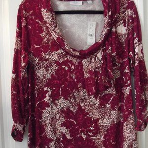 NWT Blouse New York & Co Abstract Floral LARGE